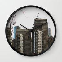 buildings Wall Clocks featuring Buildings by Genevieve Einwalter