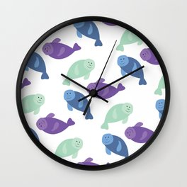 Manatee Pattern Fun Wall Clock