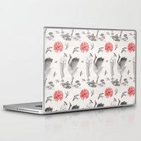 swallow Laptop & iPad Skins featuring Crane, Swallow, Frog by Deborah Panesar Illustration