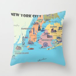 New York City Fine Art Print Retro Vintage Favorite Map with Touristic Highlights Throw Pillow