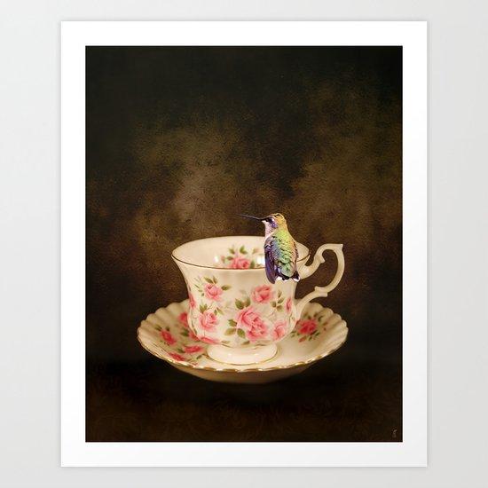 Tea Time With A Hummingbird 1 Art Print