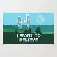 quidditch Area & Throw Rugs featuring I WANT TO BELIEVE - Star Wars by John Medbury (LAZY J Studios)