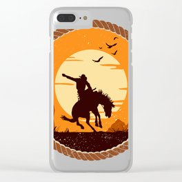 70s Style Vintage Rodeo product | Retro Horse Lover Tee Clear iPhone Case