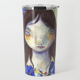 Girl and exotic blue flowers Travel Mug