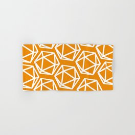 D20 Pattern - Orange and White Hand & Bath Towel