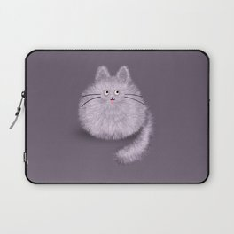 Cute Fluffly cat on pastel purple Laptop Sleeve