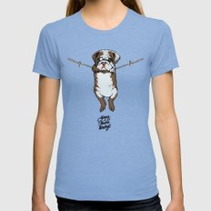 Hang in There Baby English Bulldog Tri-Blue Womens Fitted Tee X-LARGE