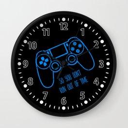 Video Games Blue on Black Wall Clock