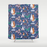 camp Shower Curtains featuring Bear camp by Demi Goutte