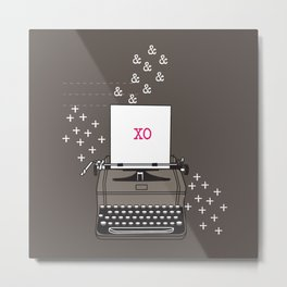 Vintage Typewriter Valentine Smoochies Metal Print