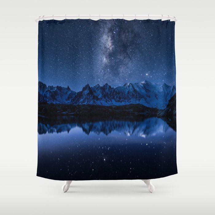 Night mountains Shower Curtain