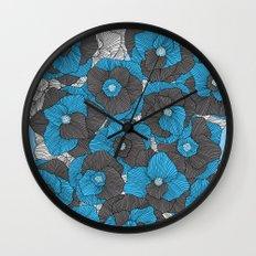 In Bloom (blue & grey) Wall Clock