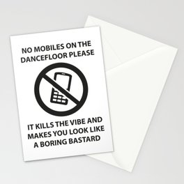 No mobile phones allowed on the dancefloor Stationery Cards