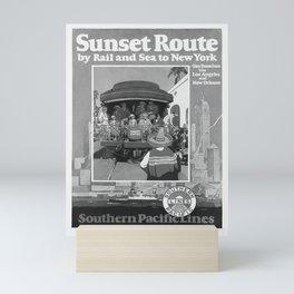 retro vintage Sunset Route poster Mini Art Print