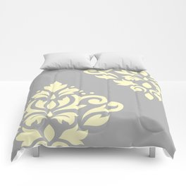 Scroll Damask Art I Yellow on Grey Comforters