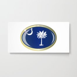 South Carolina State Flag Oval Button Metal Print