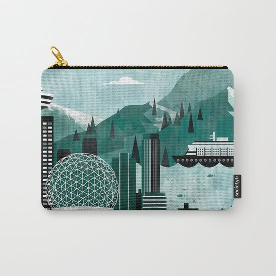 Vancouver Travel Poster Illustration Carry-All Pouch