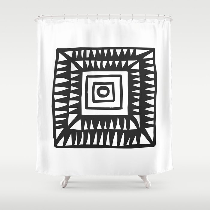 Tribal Print BW 02 Shower Curtain By Menchulica
