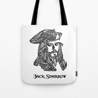 jack sparrow Tote Bags featuring Captain Jack Sparrow by christoph_loves_drawing