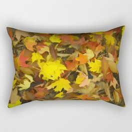 Carpet of Autumn Leaves Painting Style Rectangular Pillow