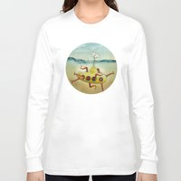 yellow submarine Long Sleeve T-shirts featuring yellow submarine in an octapuses garden by Vin Zzep