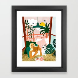 Pet Pals, Animals Lovers Illustration, Travel With Pets Modern Bohemian Painting Framed Art Print