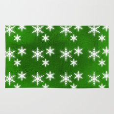 Snowflakes on green Rug