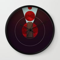 2001 a space odyssey Wall Clocks featuring 2001: A Space Odyssey - The Monolith Tribute by Thecansone