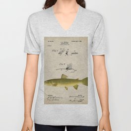 Vintage Brown Trout Fly Fishing Lure Patent Game Fish Identification Chart Unisex V-Neck