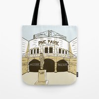 pittsburgh Tote Bags featuring Pittsburgh Baseball by K. Sekelsky