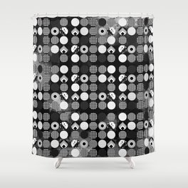 Hectic Geometric On Textured Black And White Shower Curtain