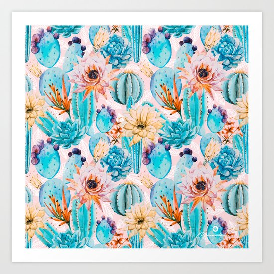 Cactus and flowers pattern Art Print