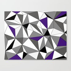 Geo - gray, black, purple and white Canvas Print