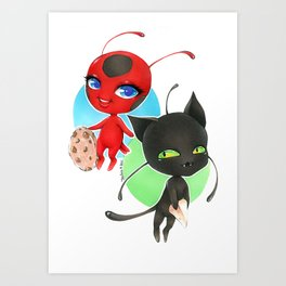 Miraculous Ladybug - Tikki and Plagg Art Print