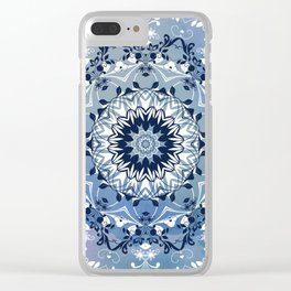 MAGICAL BLUE AND WHITE FLORAL MANDALA Clear iPhone Case