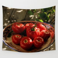 vegetables Wall Tapestries featuring Red vegetables by Svetlana Korneliuk