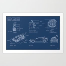 DMC DeLorean Blueprint Art Print