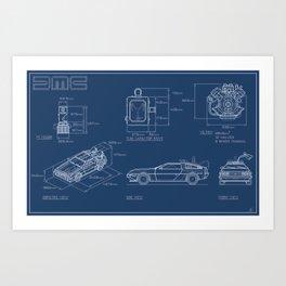 DMC DeLorean Blueprint Art Print