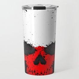 Flag of Poland on a Chaotic Splatter Skull Travel Mug