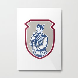 Scotsman Bagpiper Playing Bagpipes Shield Metal Print