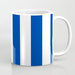 Dark Princess Blue and White Wide Vertical Cabana Tent Stripe Coffee Mug