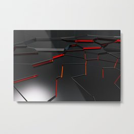 Black fractured surface with red glowing lines Metal Print