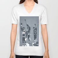 power rangers V-neck T-shirts featuring Black Power Rangers by .escobar