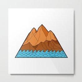 Ragged Mountain Waves Mono Line Metal Print