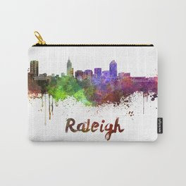 Raleigh skyline in watercolor Carry-All Pouch