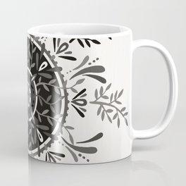 Leaf Mandala – Black & Grey Palette Coffee Mug