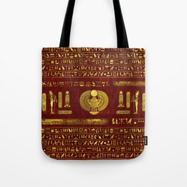 Golden Egyptian Scarab on red leather Tote Bag