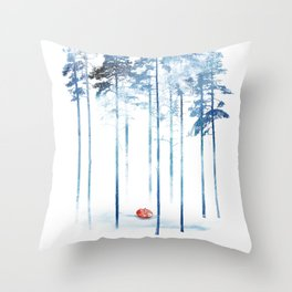 Sleeping in the woods Throw Pillow