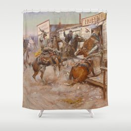 C.M. Russell Vintage Western In Without Knocking Shower Curtain