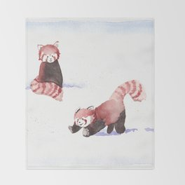 Red Pandas in the Snow Throw Blanket